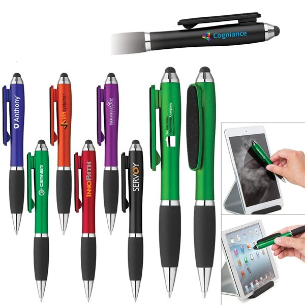 Promotional Curvaceous Stylus Twist Pen With Screen Cleaner