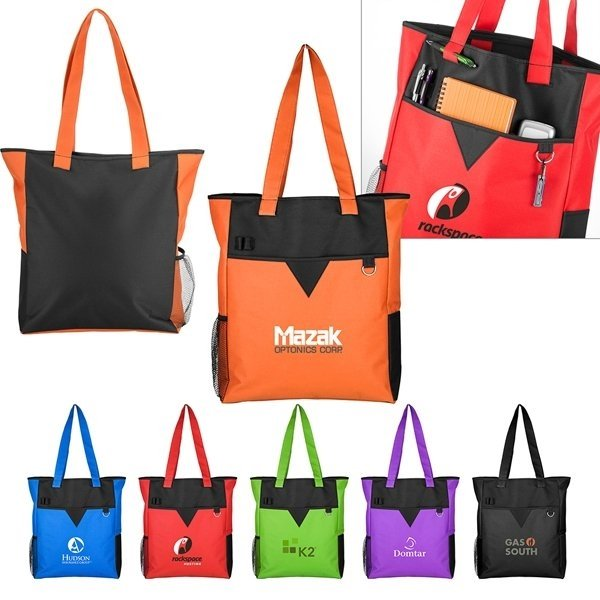 Promotional Center Divider Zip Top Tote