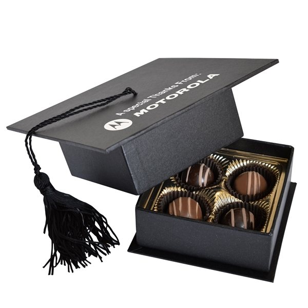 Promotional Graduation Cap Box with 4 Truffles