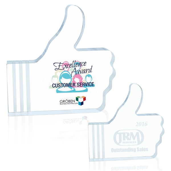 Promotional Acrylic Thumbs Up Award - 5x5 Inch