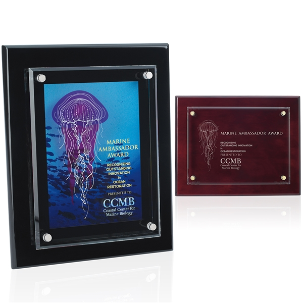 Promotional Floating Glass Plaque - 8 x 10