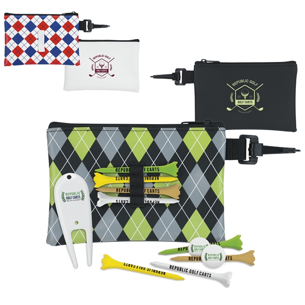 Promotional Pattern Golf Pouch Tee Kit 3-1/4