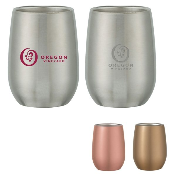 Promotional 9 oz Stainless Steel Stemless Wine Glass