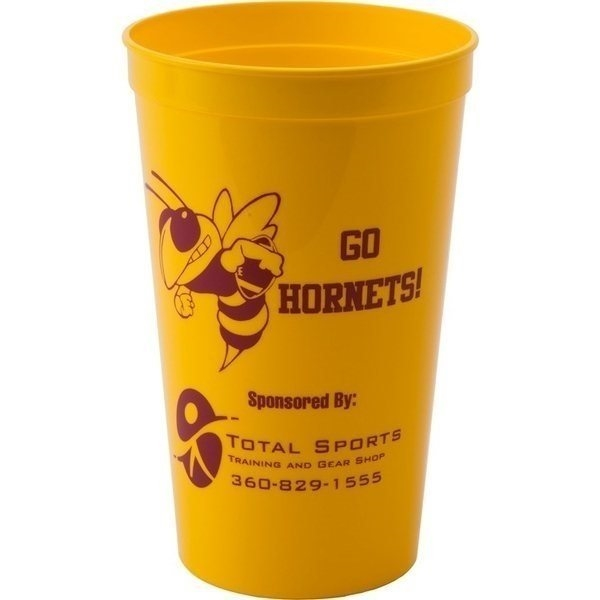 Promotional 22 oz Smooth Walled Plastic Stadium Cup with Automated Silkscreen Imprint