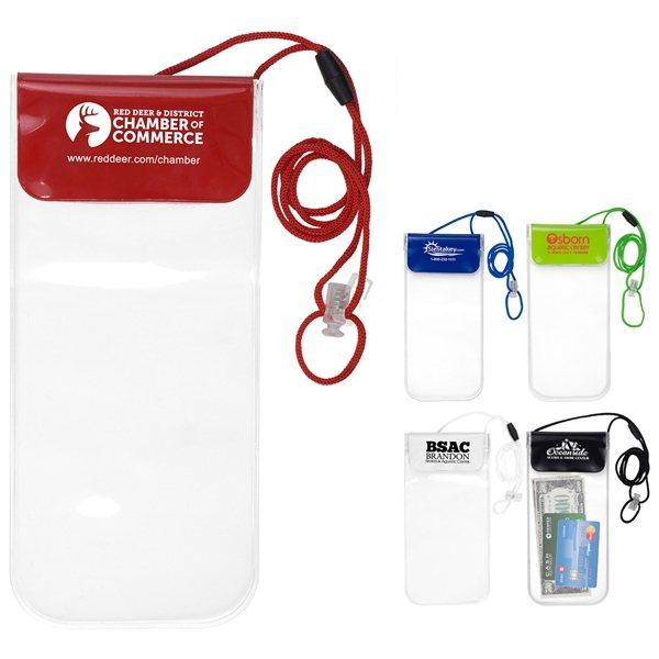 Promotional Truckee Clear Touch Through Water - Resistant Cell Phone and Accessories Carrying Case with 35 Adjustable Breakaway Lanyard