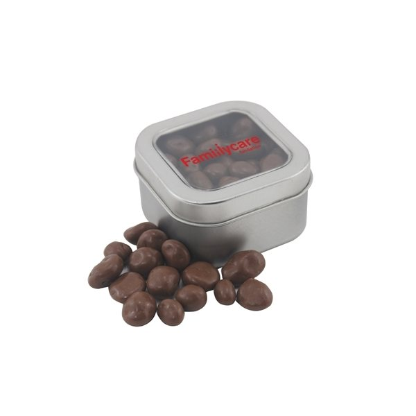 Promotional Small Window Tin with Chocolate Covered Raisins