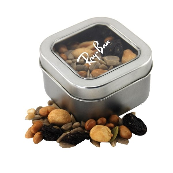 Promotional Small Window Tin with Trail Mix