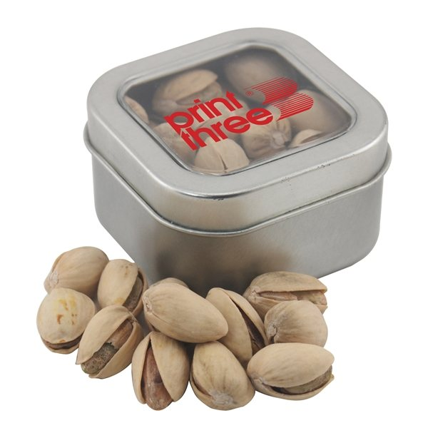 Promotional Small Window Tin with Pistachios