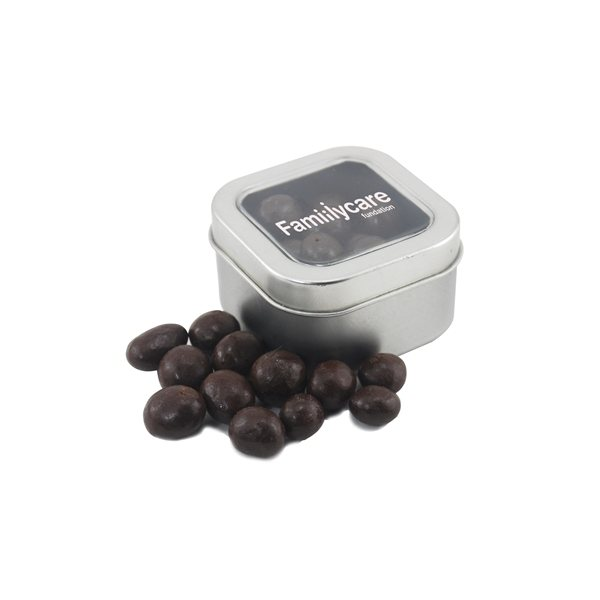 Promotional Small Window Tin with Chocolate Espresso Beans