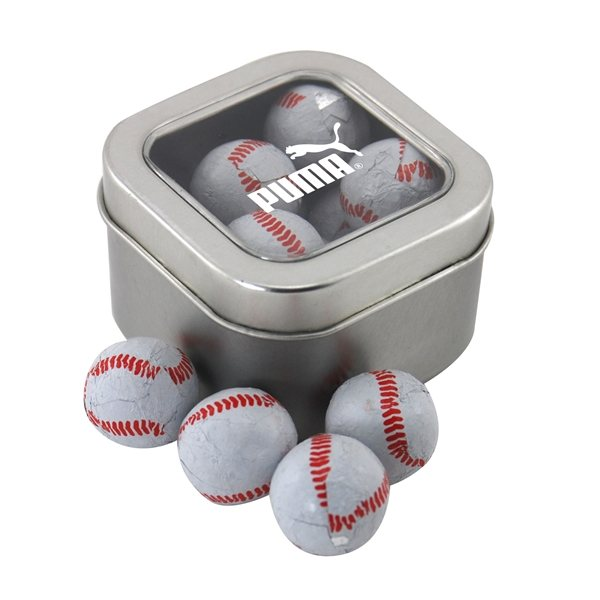 Promotional Small Window Tin with Chocolate Baseballs