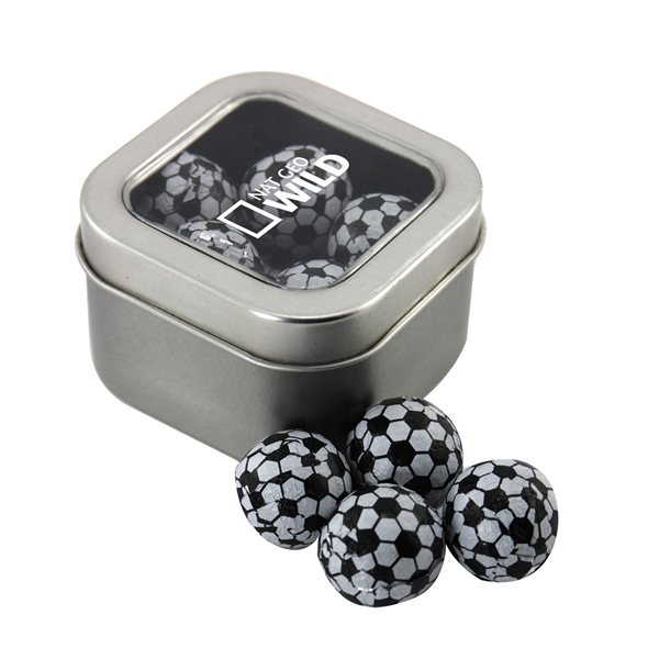 Promotional Small Window Tin with Chocolate Soccer Balls