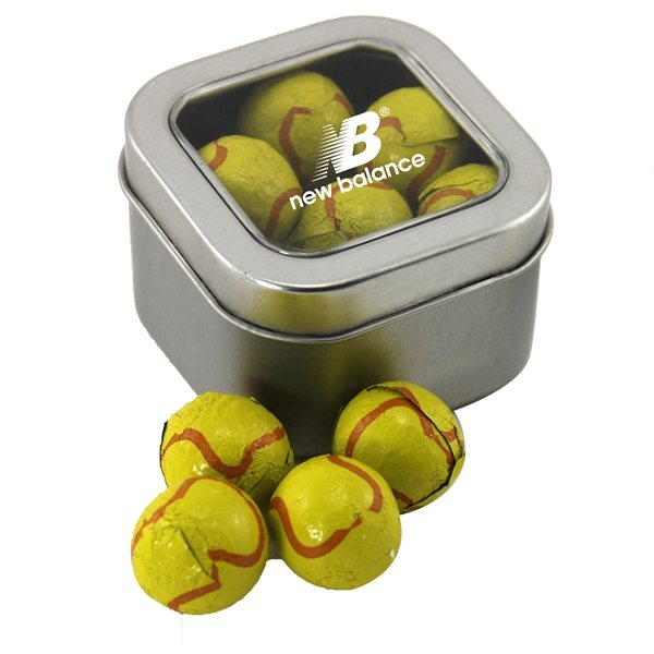 Promotional Small Window Tin with Chocolate Tennis Balls