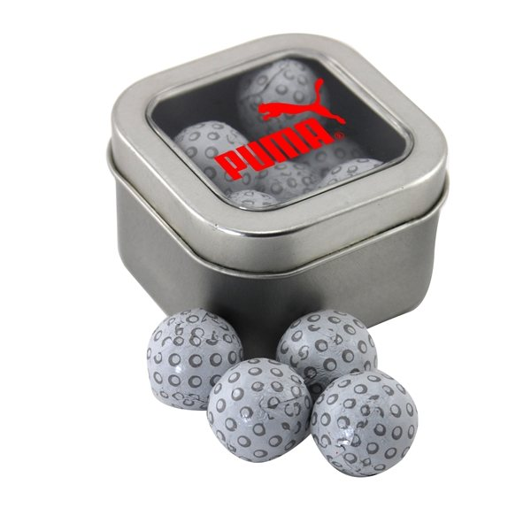 Promotional Small Window Tin with Chocolate Golf Balls
