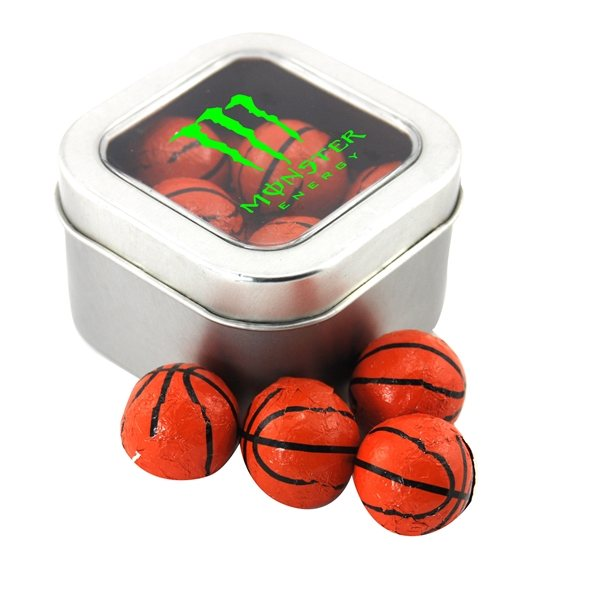 Promotional Small Window Tin with Chocolate Basketballs