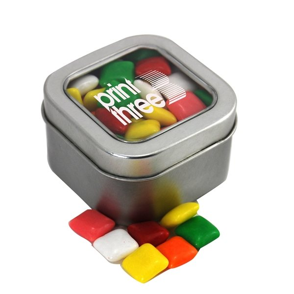 Promotional Small Window Tin with Mini Chicklets