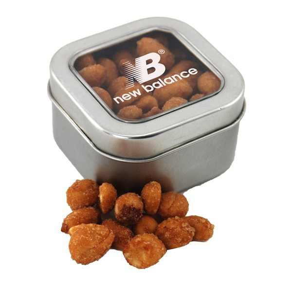 Promotional Small Window Tin with Honey Roasted Peanuts