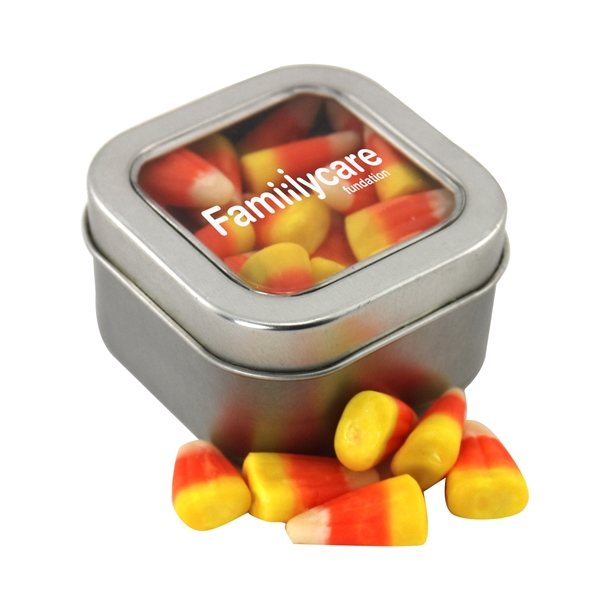 Promotional Small Window Tin with Candy Corn