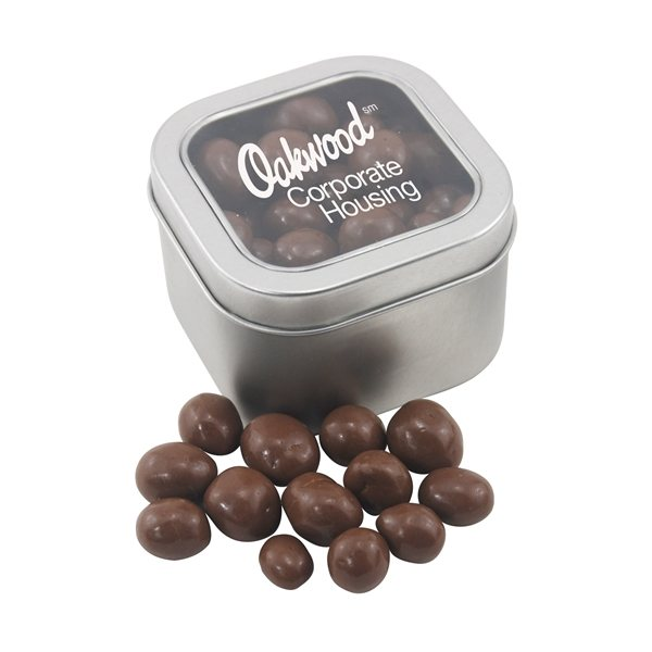 Promotional Large Window Tin with Chocolate Covered Peanuts