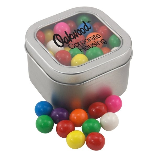 Promotional Large Window Tin with Gumballs