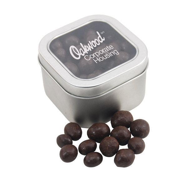 Promotional Large Window Tin with Chocolate Espresso Beans