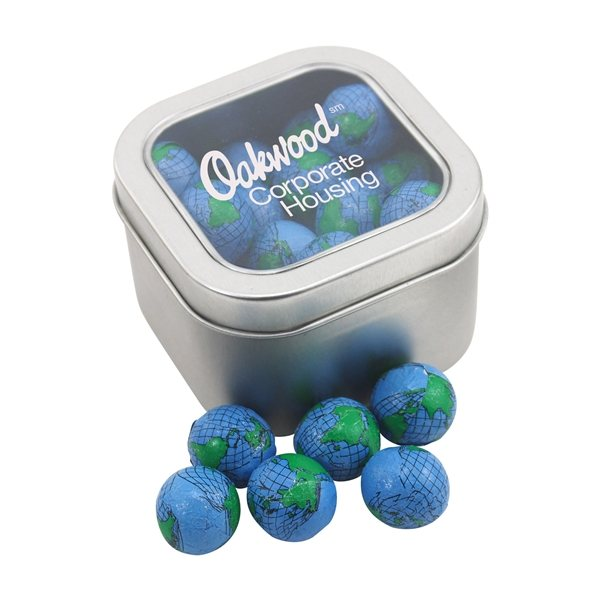 Promotional Large Window Tin with Chocolate Globes Earth Balls