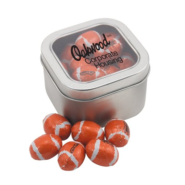 Promotional Large Window Tin with Chocolate Footballs
