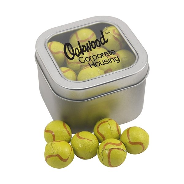 Promotional Large Window Tin with Chocolate Tennis Balls