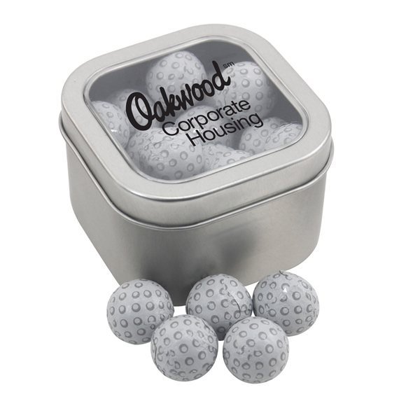 Promotional Large Window Tin with Chocolate Golf Balls