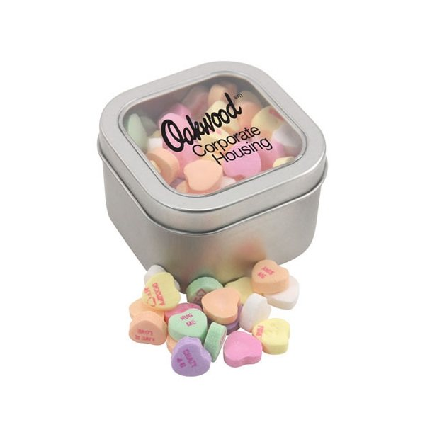 Promotional Large Window Tin with Conversation Hearts