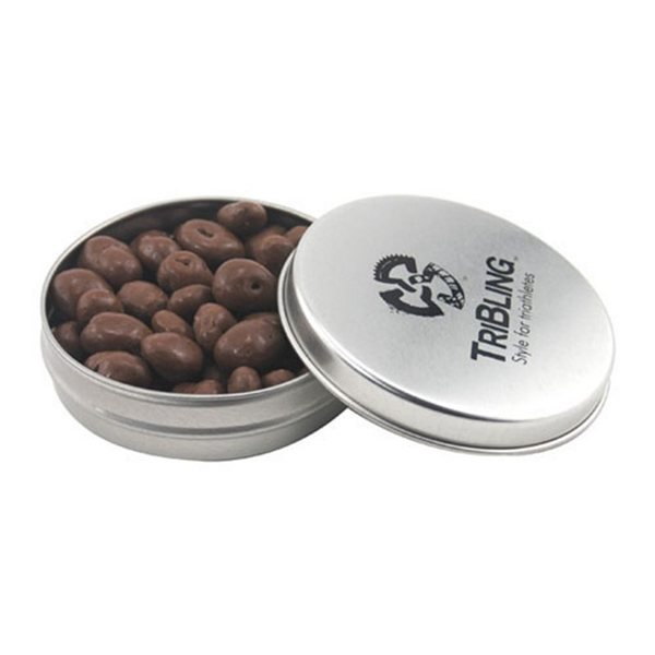 Promotional 3 1/4 Round Tin with Chocolate Covered Raisins