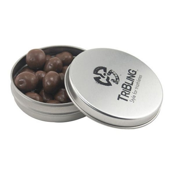 Promotional 3 1/4 Round Tin with Chocolate Peanuts