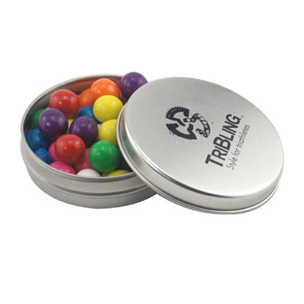 Promotional 3 1/4 Round Tin with Gumballs