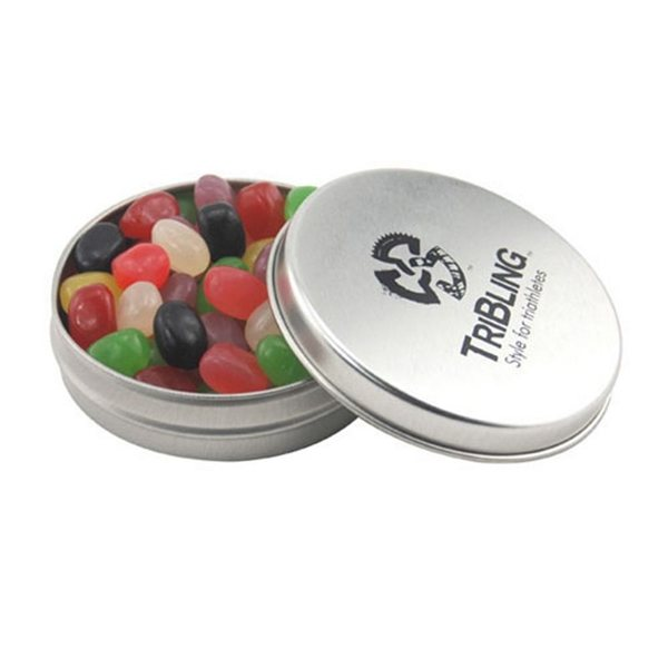 Promotional 3 1/4 Round Tin with Jelly Beans
