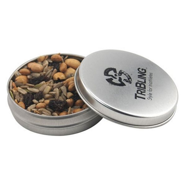 Promotional 3 1/4 Round Tin with Trail Mix