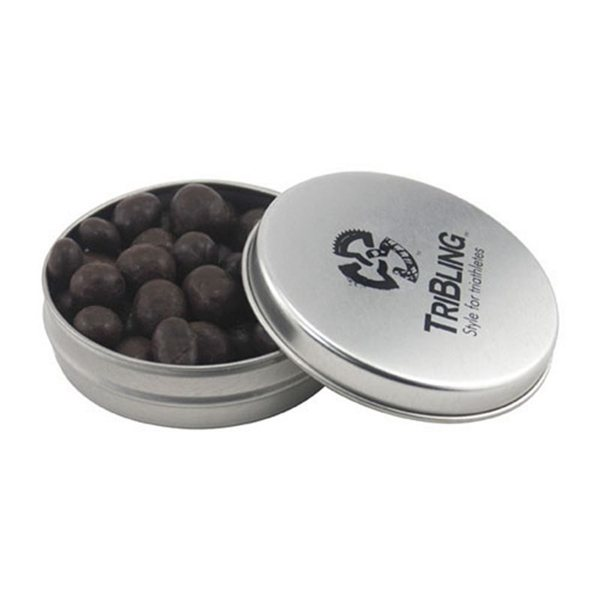Promotional 3 1/4 Round Tin with Chocolate Espresso Beans