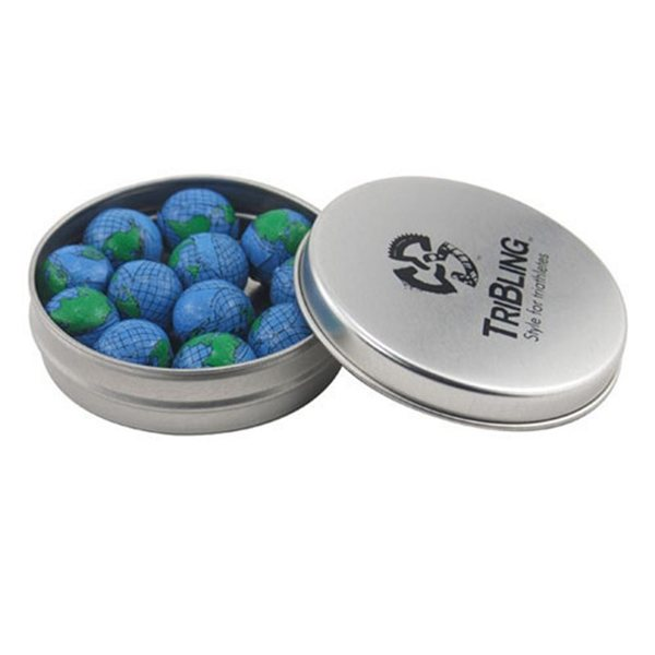 Promotional 3 1/4 Round Tin with Chocolate Globes Earth Balls