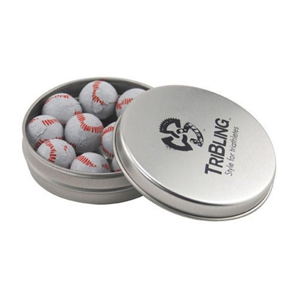 Promotional 3 1/4 Round Tin with Chocolate Baseballs