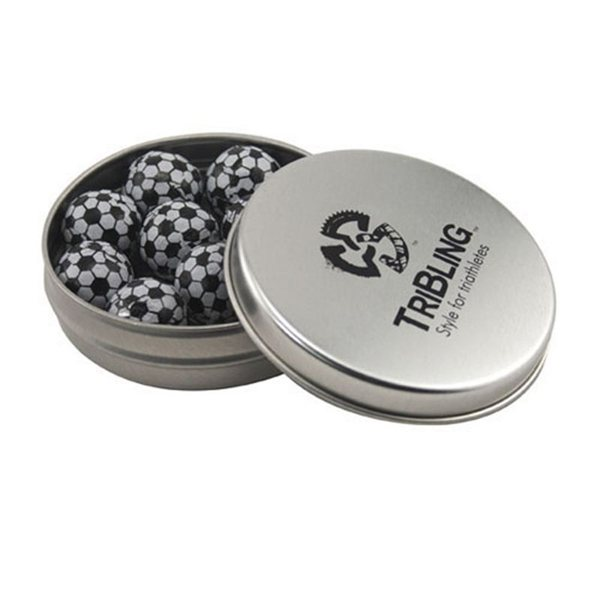 Promotional 3 1/4 Round Tin with Chocolate Soccer Balls