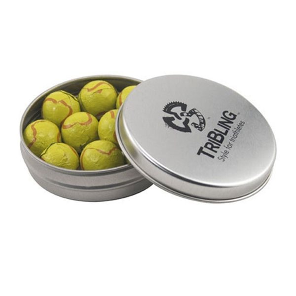 Promotional 3 1/4 Round Tin with Chocolate Tennis Balls