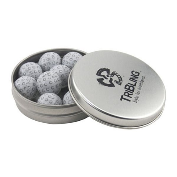 Promotional 3 1/4 Round Tin with Chocolate Golf Balls