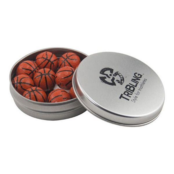 Promotional 3 1/4 Round Tin with Chocolate Basketballs