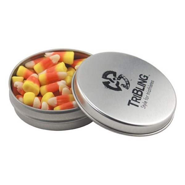 Promotional 3 1/4 Round Tin with Candy Corn