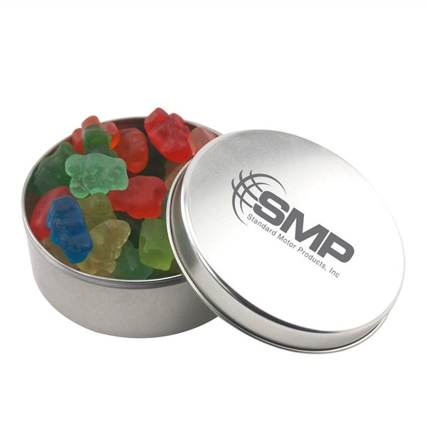Promotional 3 1/2 Round Tin with Gummy Bears