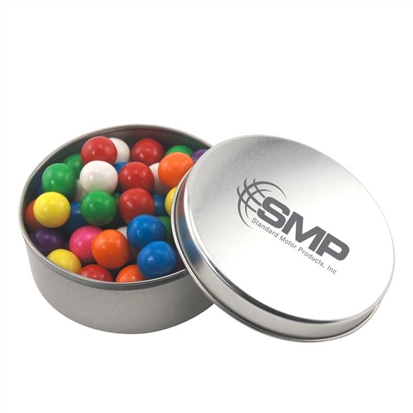 Promotional 3 1/2 Round Tin with Gumballs