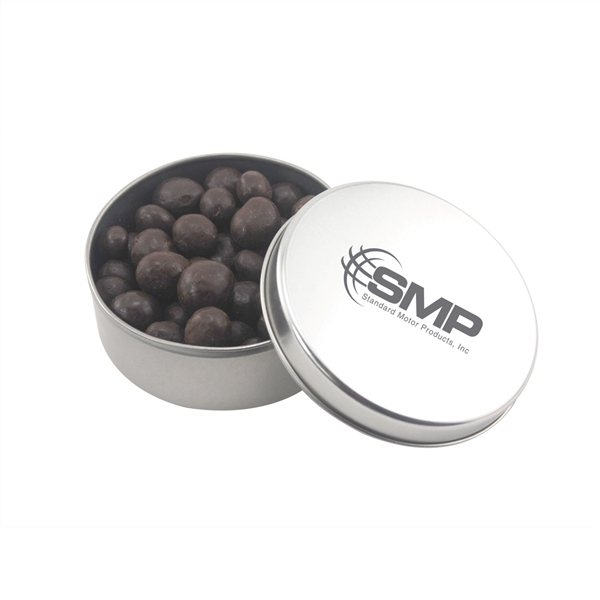 Promotional 3 1/2 Round Tin with Chocolate Espresso Beans