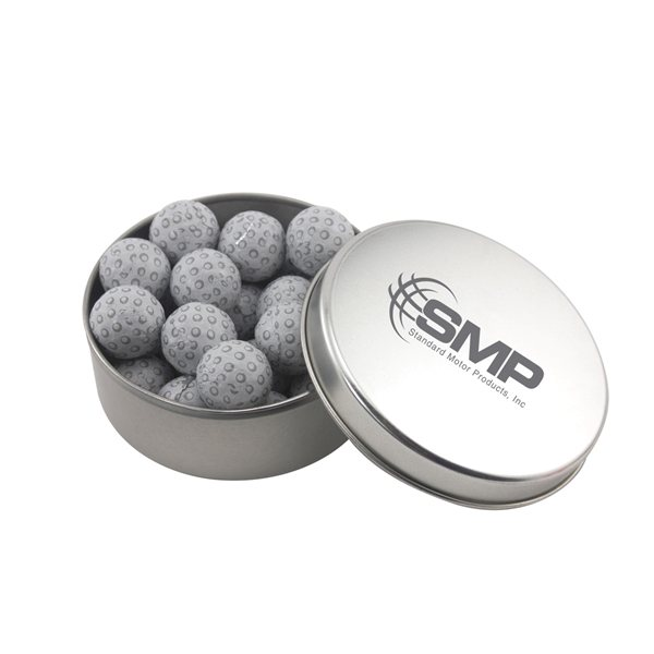 Promotional 3 1/2 Round Tin with Chocolate Golf Balls