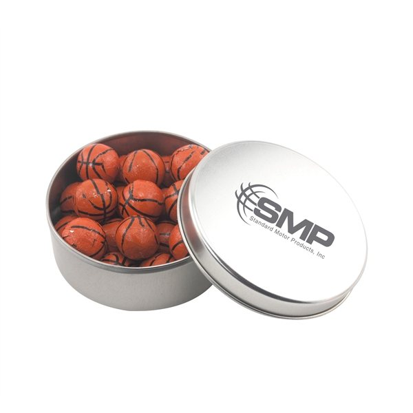 Promotional 3 1/2 Round Tin with Chocolate Basketballs
