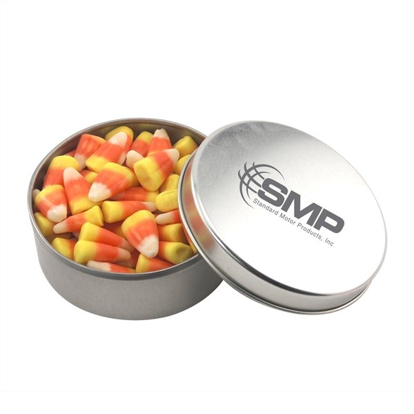 Promotional 3 1/2 Round Tin with Candy Corn