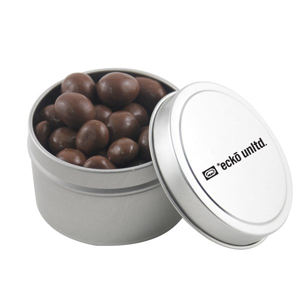 Promotional 2 3/4 Round Tin with Chocolate Covered Peanuts