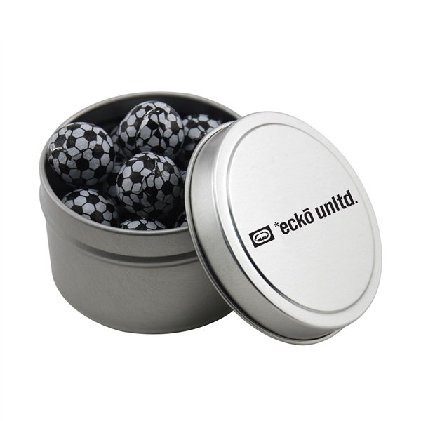 Promotional 2 3/4 Round Tin with Chocolate Soccer Balls